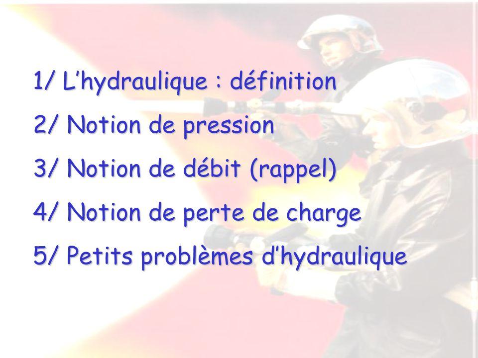 1/ Lhydraulique : définition 2/ Notion de pression 3/ Notion de débit (rappel) 4/ Notion de perte de charge 5/ Petits problèmes dhydraulique