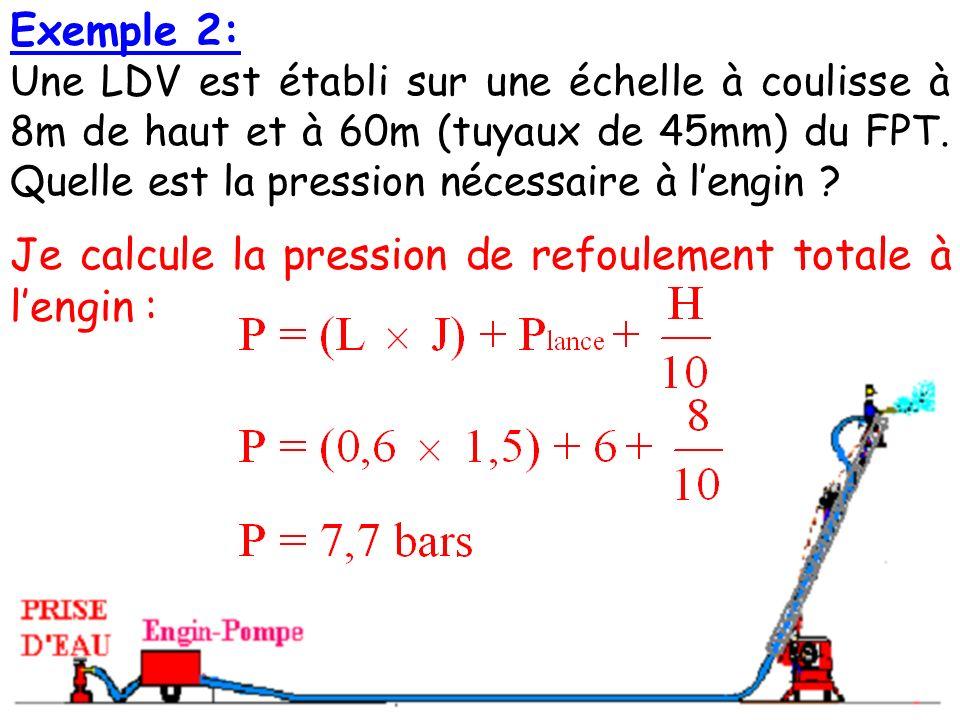 Exemple 2: Une LDV est établi sur une échelle à coulisse à 8m de haut et à 60m (tuyaux de 45mm) du FPT.