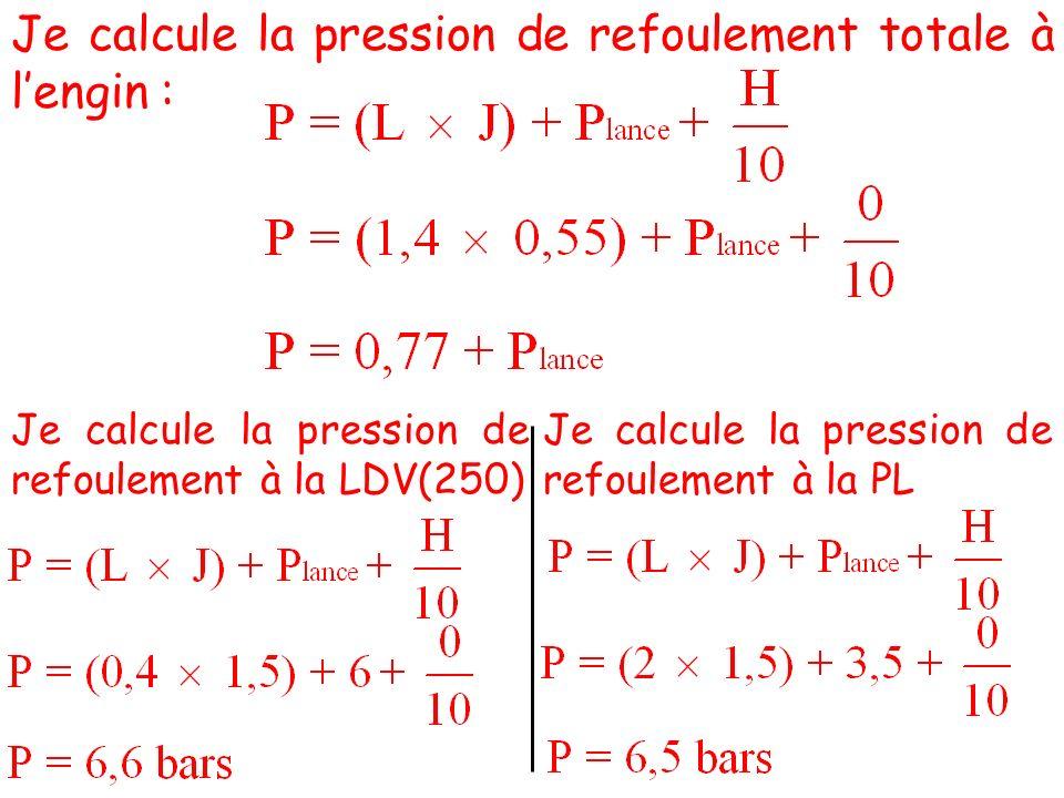 Je calcule la pression de refoulement totale à lengin : Je calcule la pression de refoulement à la LDV(250) Je calcule la pression de refoulement à la PL