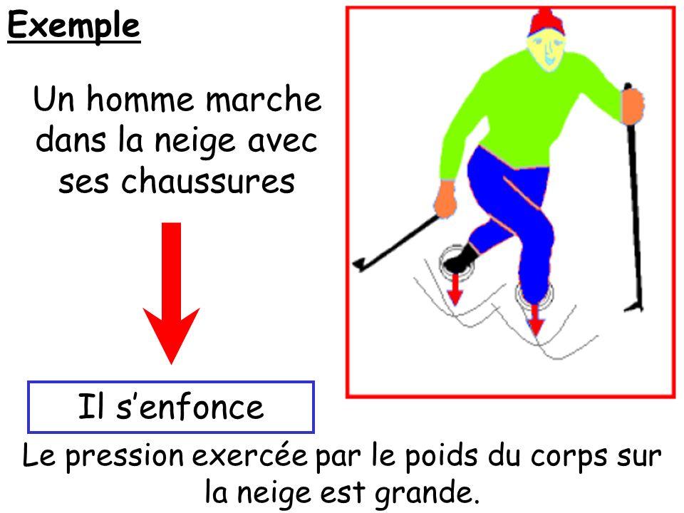 Exemple Un homme marche dans la neige avec ses chaussures Il senfonce Le pression exercée par le poids du corps sur la neige est grande.