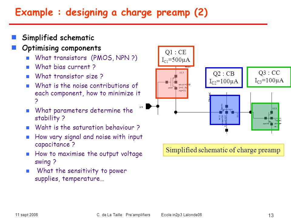 11 sept 2008C. de La Taille Pre'amplifiers Ecole in2p3 Lalonde08 13 Example : designing a charge preamp (2) Q2 : CB I C2 =100µA Q3 : CC I C3 =100µA Q1