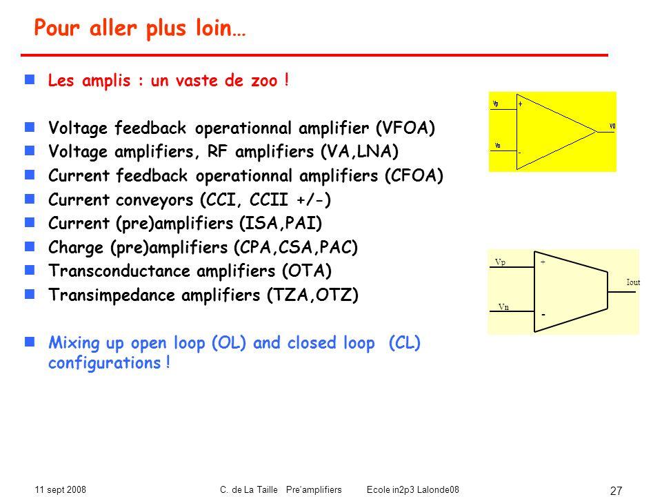 11 sept 2008C. de La Taille Pre'amplifiers Ecole in2p3 Lalonde08 27 Pour aller plus loin… Les amplis : un vaste de zoo ! Voltage feedback operationnal