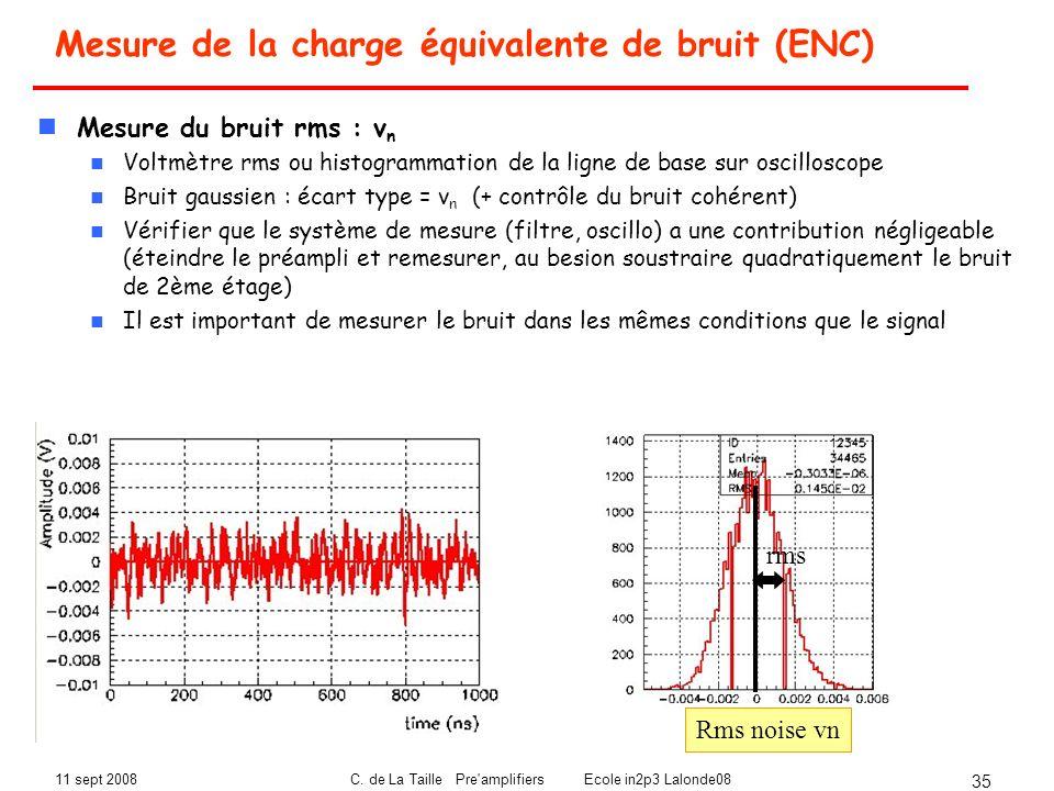 11 sept 2008C. de La Taille Pre'amplifiers Ecole in2p3 Lalonde08 35 Mesure de la charge équivalente de bruit (ENC) Mesure du bruit rms : v n Voltmètre