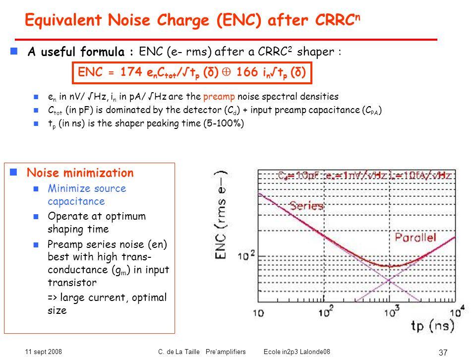 11 sept 2008C. de La Taille Pre'amplifiers Ecole in2p3 Lalonde08 37 Equivalent Noise Charge (ENC) after CRRC n A useful formula : ENC (e- rms) after a