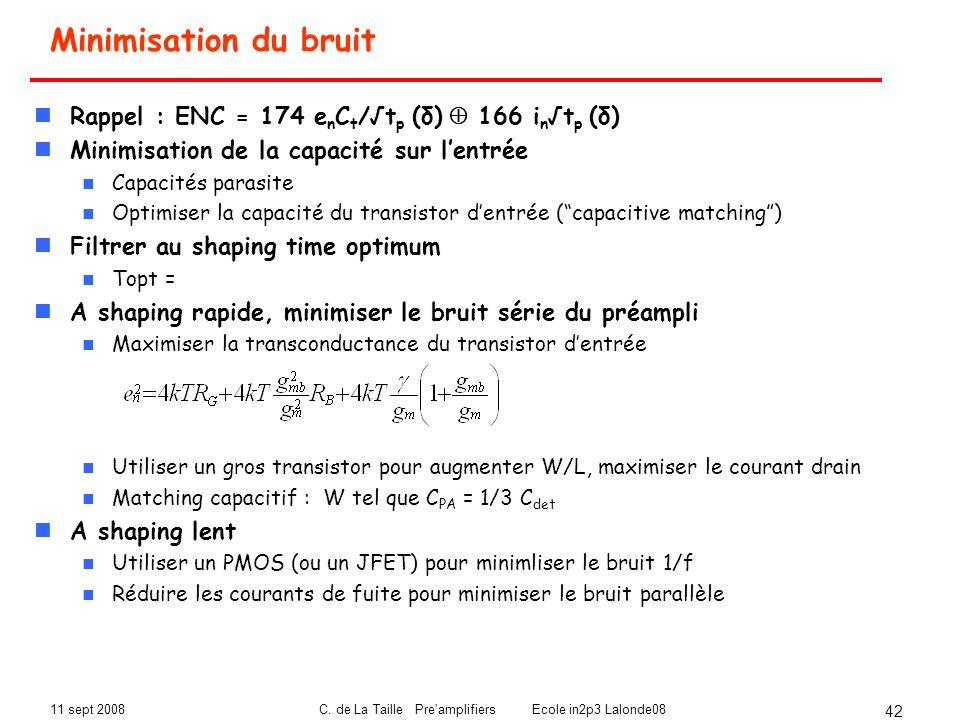 11 sept 2008C. de La Taille Pre'amplifiers Ecole in2p3 Lalonde08 42 Minimisation du bruit Rappel : ENC = 174 e n C t /t p (δ) 166 i nt p (δ) Minimisat