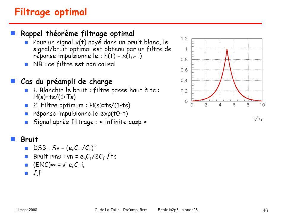 11 sept 2008C. de La Taille Pre'amplifiers Ecole in2p3 Lalonde08 46 Filtrage optimal Rappel théorème filtrage optimal Pour un signal x(t) noyé dans un
