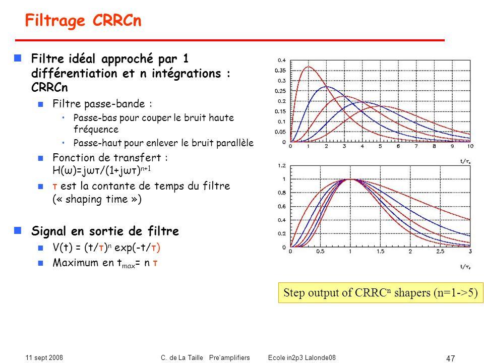 11 sept 2008C. de La Taille Pre'amplifiers Ecole in2p3 Lalonde08 47 Filtrage CRRCn Filtre idéal approché par 1 différentiation et n intégrations : CRR