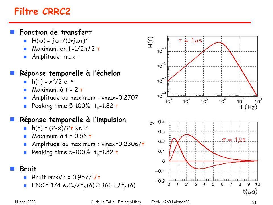11 sept 2008C. de La Taille Pre'amplifiers Ecole in2p3 Lalonde08 51 Filtre CRRC2 Fonction de transfert H(ω) = jωτ/(1+jωτ) 3 Maximum en f=1/2π2 τ Ampli