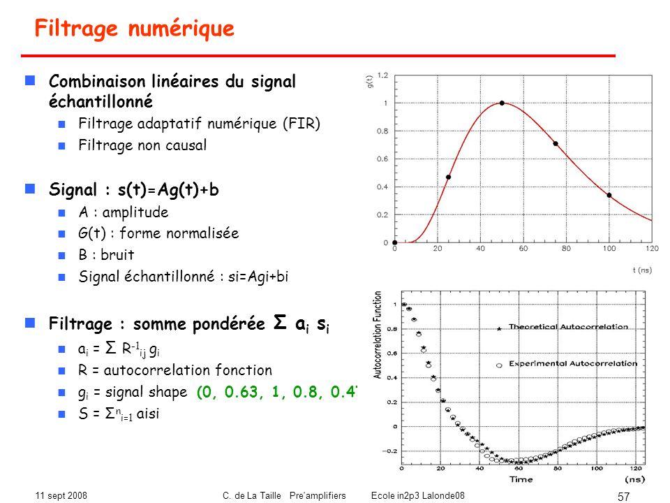 11 sept 2008C. de La Taille Pre'amplifiers Ecole in2p3 Lalonde08 57 Filtrage numérique Combinaison linéaires du signal échantillonné Filtrage adaptati