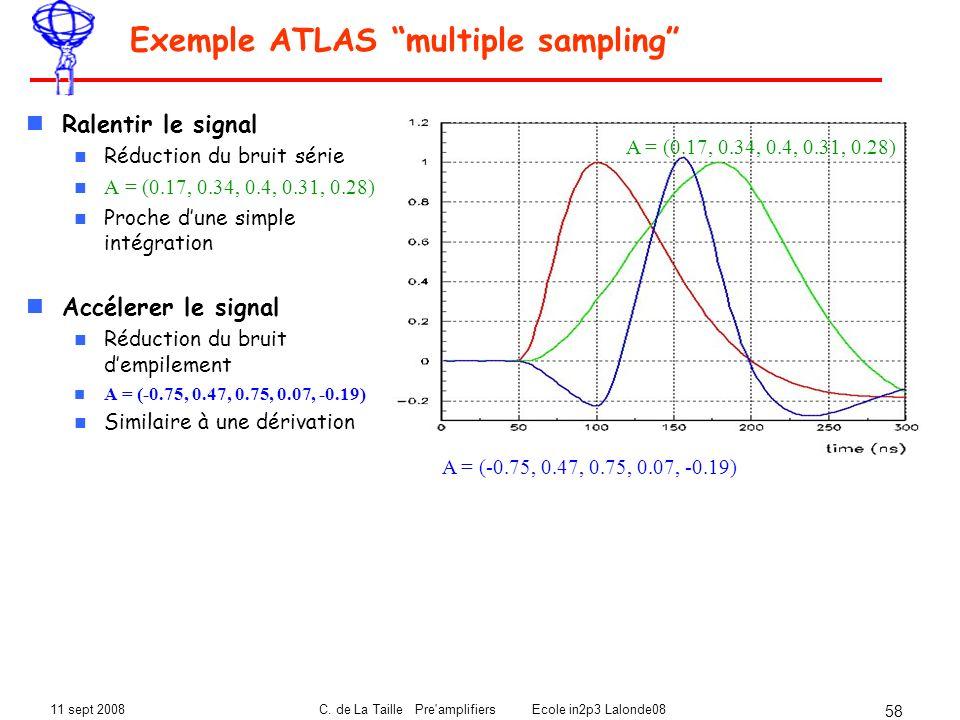 11 sept 2008C. de La Taille Pre'amplifiers Ecole in2p3 Lalonde08 58 Exemple ATLAS multiple sampling Ralentir le signal Réduction du bruit série A = (0