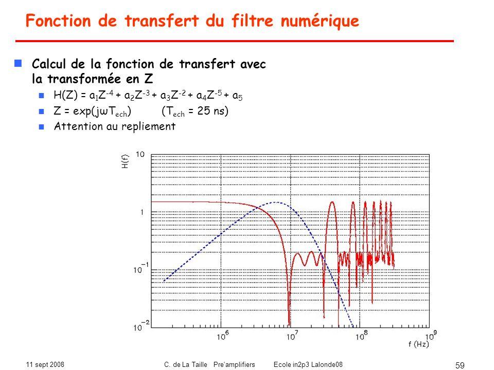 11 sept 2008C. de La Taille Pre'amplifiers Ecole in2p3 Lalonde08 59 Calcul de la fonction de transfert avec la transformée en Z H(Z) = a 1 Z -4 + a 2
