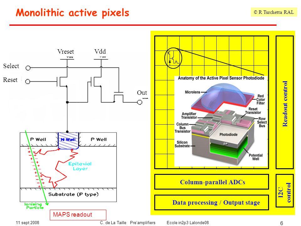 11 sept 2008C. de La Taille Pre'amplifiers Ecole in2p3 Lalonde08 6 Monolithic active pixels Epitaxial layer forms sensitive volume (2-20 m) Charge col