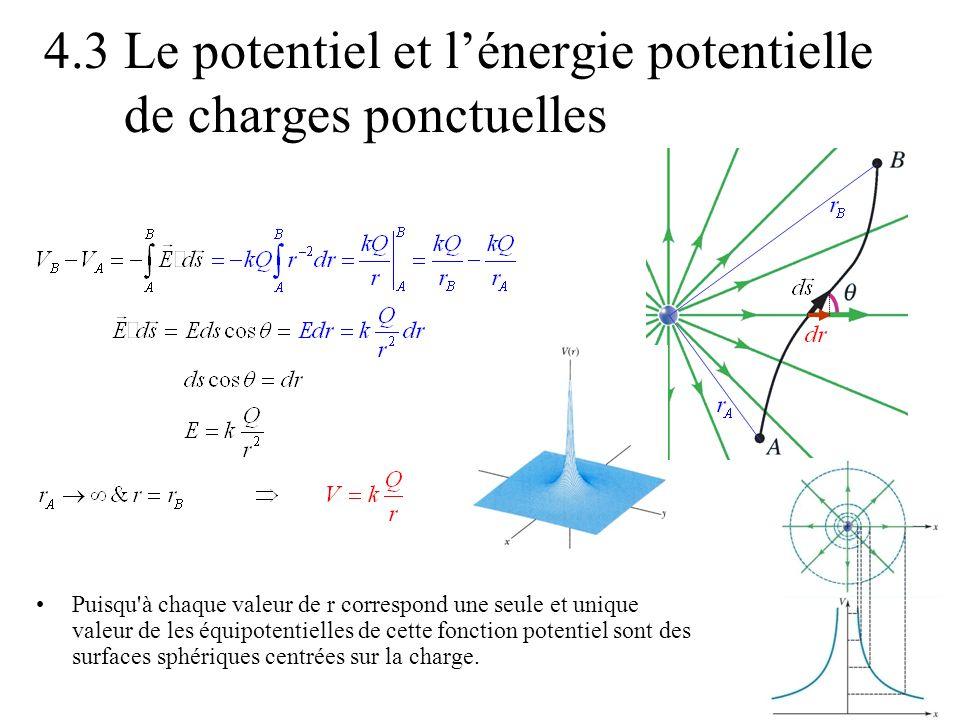 4.3 Le potentiel et lénergie potentielle de charges ponctuelles Puisqu'à chaque valeur de r correspond une seule et unique valeur de les équipotentiel
