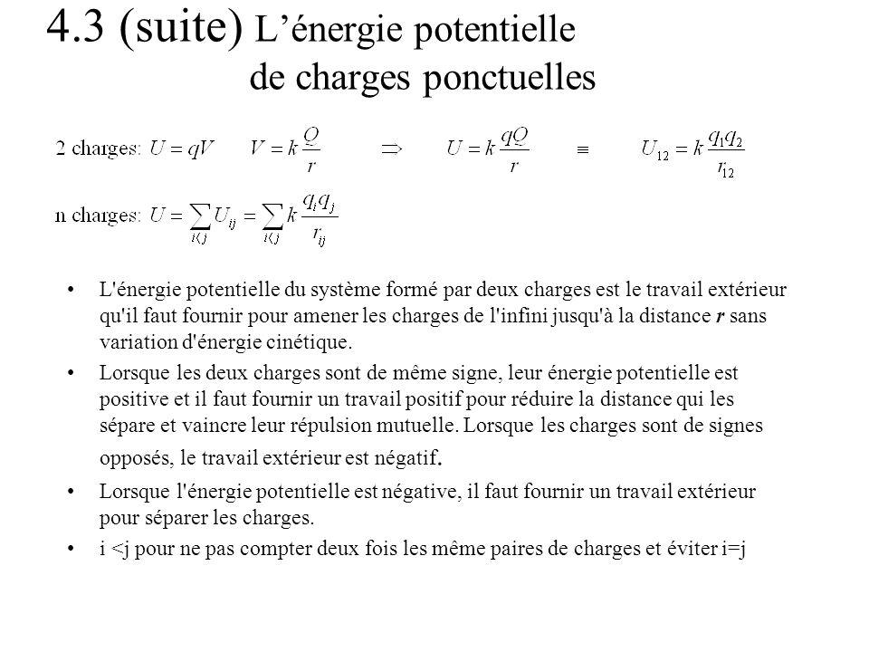 4.3 (suite) Lénergie potentielle de charges ponctuelles L'énergie potentielle du système formé par deux charges est le travail extérieur qu'il faut fo