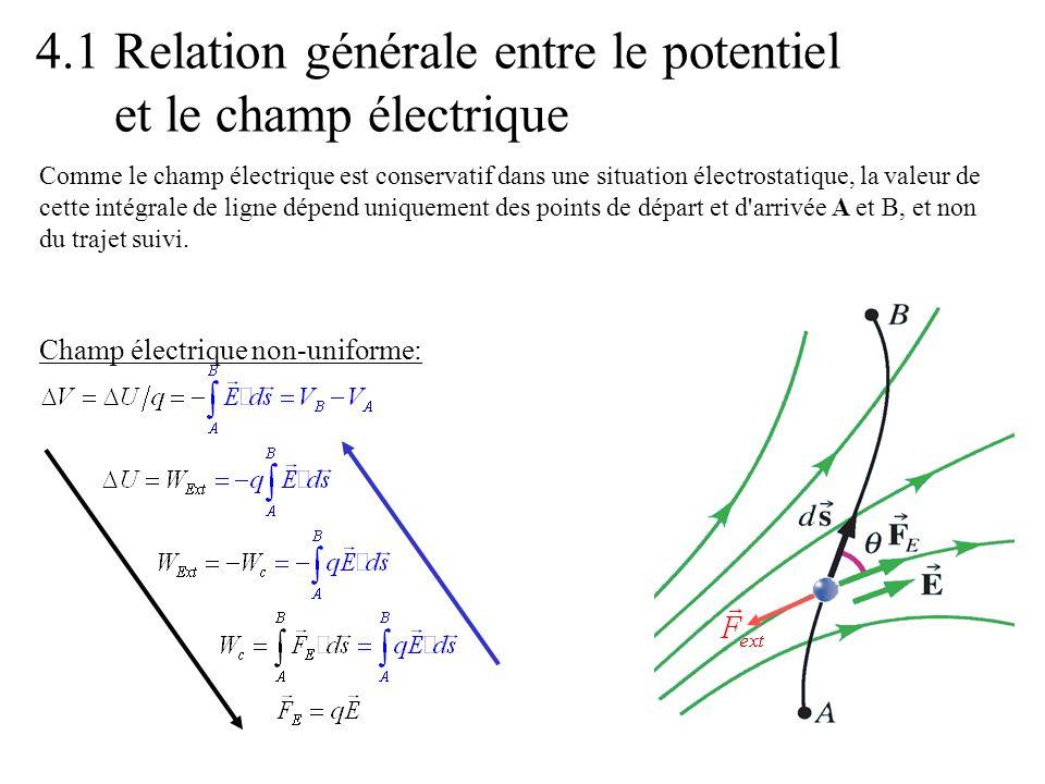 4.1 Relation générale entre le potentiel et le champ électrique Comme le champ électrique est conservatif dans une situation électrostatique, la valeu