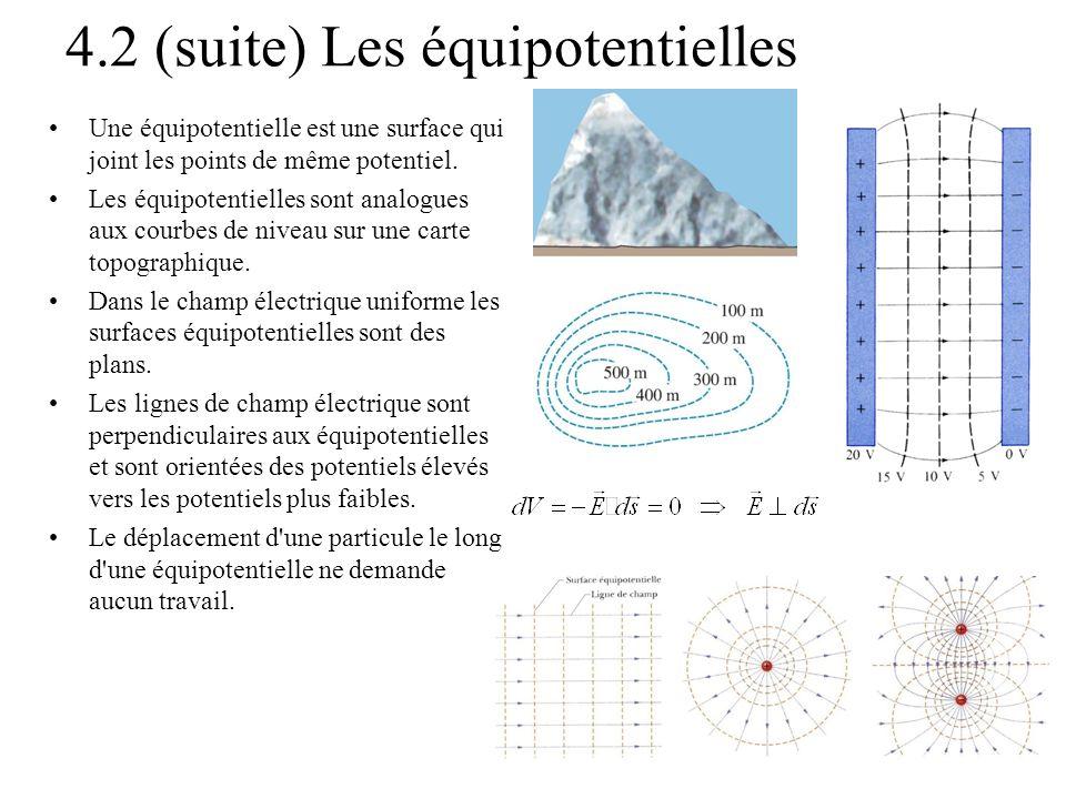 4.2 (suite) Les équipotentielles Une équipotentielle est une surface qui joint les points de même potentiel. Les équipotentielles sont analogues aux c