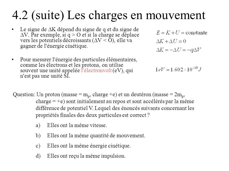 4.2 (suite) Les charges en mouvement Le signe de ΔK dépend du signe de q et du signe de ΔV. Par exemple, si q > O et si la charge se déplace vers les