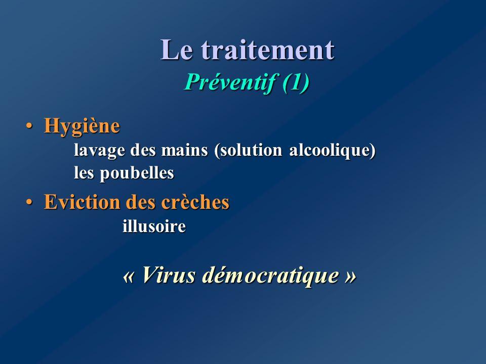 Le traitement Préventif (1) Hygiène lavage des mains (solution alcoolique) les poubellesHygiène lavage des mains (solution alcoolique) les poubelles E