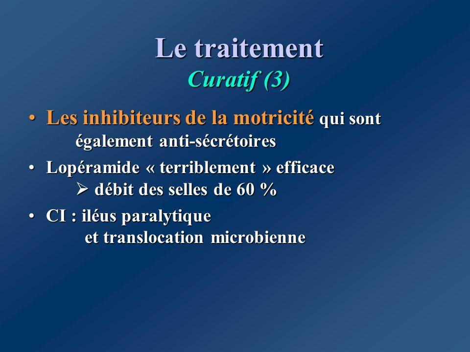 Le traitement Curatif (3) Les inhibiteurs de la motricité qui sont également anti-sécrétoiresLes inhibiteurs de la motricité qui sont également anti-s