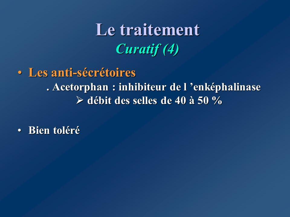 Le traitement Curatif (4) Les anti-sécrétoires. Acetorphan : inhibiteur de l enképhalinase débit des selles de 40 à 50 %Les anti-sécrétoires. Acetorph