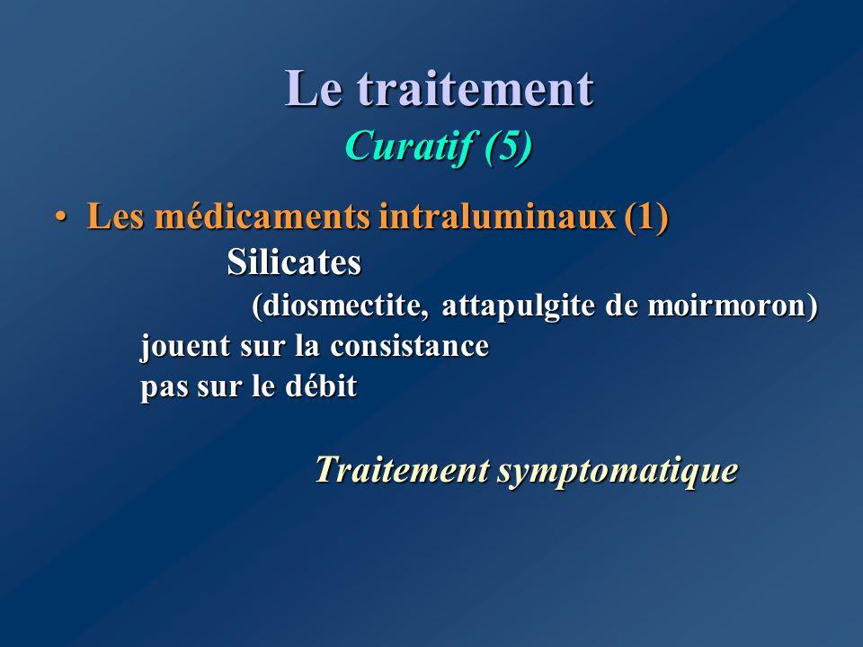 Le traitement Curatif (5) Les médicaments intraluminaux (1) Silicates (diosmectite, attapulgite de moirmoron) jouent sur la consistance pas sur le déb