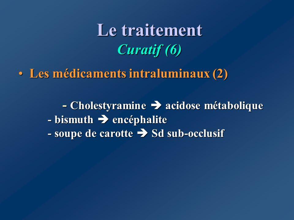 Le traitement Curatif (6) Les médicaments intraluminaux (2) - Cholestyramine acidose métabolique - bismuth encéphalite - soupe de carotte Sd sub-occlu