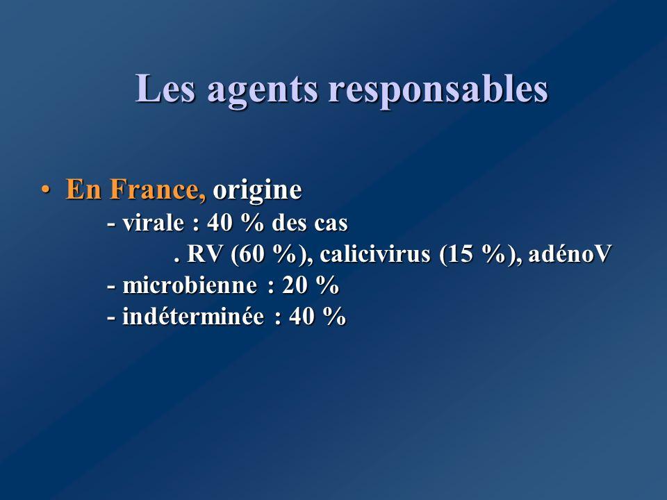 Les agents responsables En France, origine - virale : 40 % des cas. RV (60 %), calicivirus (15 %), adénoV - microbienne : 20 % - indéterminée : 40 %En