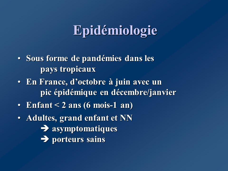 Epidémiologie Sous forme de pandémies dans les pays tropicauxSous forme de pandémies dans les pays tropicaux En France, doctobre à juin avec un pic ép