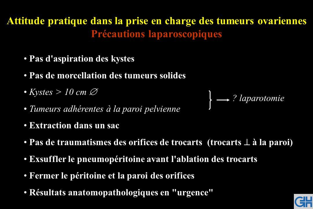 Attitude pratique dans la prise en charge des tumeurs ovariennes Précautions laparoscopiques Pas d'aspiration des kystes Pas de morcellation des tumeu
