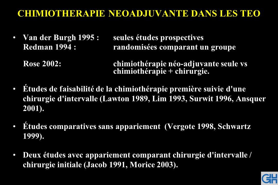 CHIMIOTHERAPIE NEOADJUVANTE DANS LES TEO Van der Burgh 1995 :seules études prospectives Redman 1994 :randomisées comparant un groupe Rose 2002:chimiot