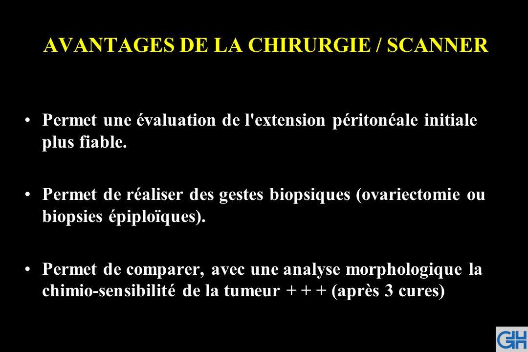AVANTAGES DE LA CHIRURGIE / SCANNER Permet une évaluation de l'extension péritonéale initiale plus fiable. Permet de réaliser des gestes biopsiques (o