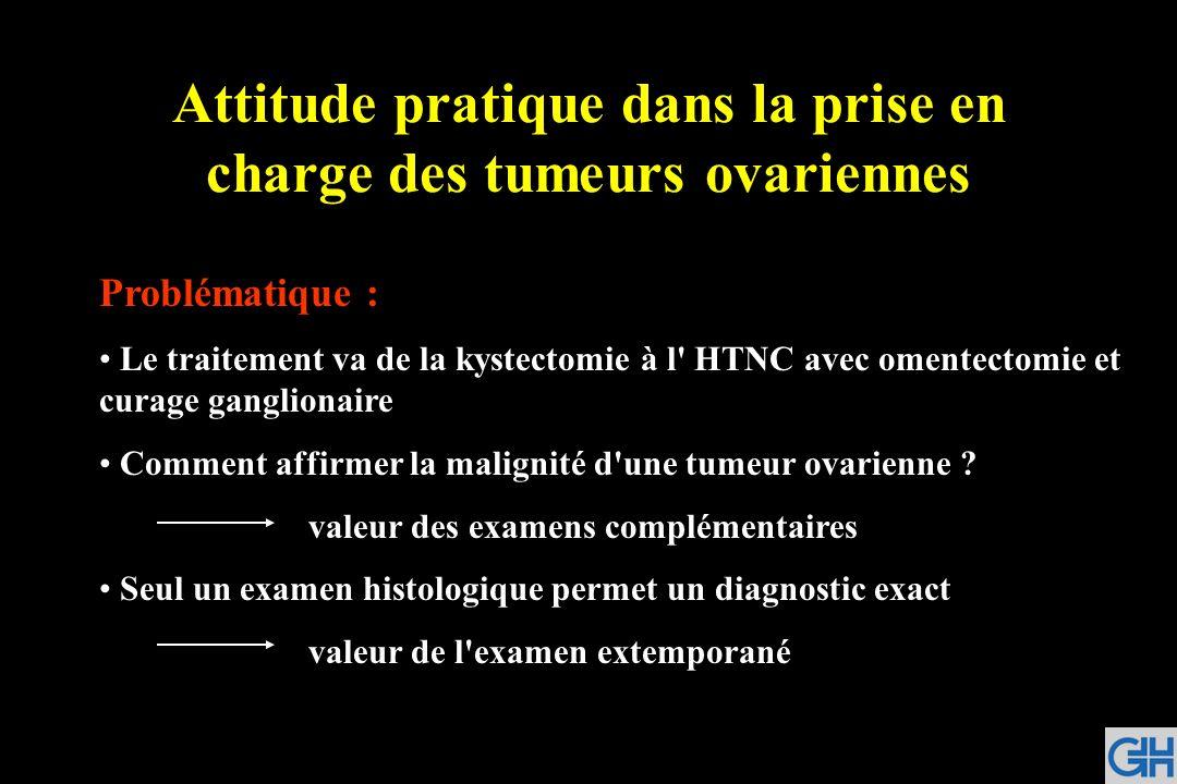 Attitude pratique dans la prise en charge des tumeurs ovariennes Problématique : Le traitement va de la kystectomie à l' HTNC avec omentectomie et cur