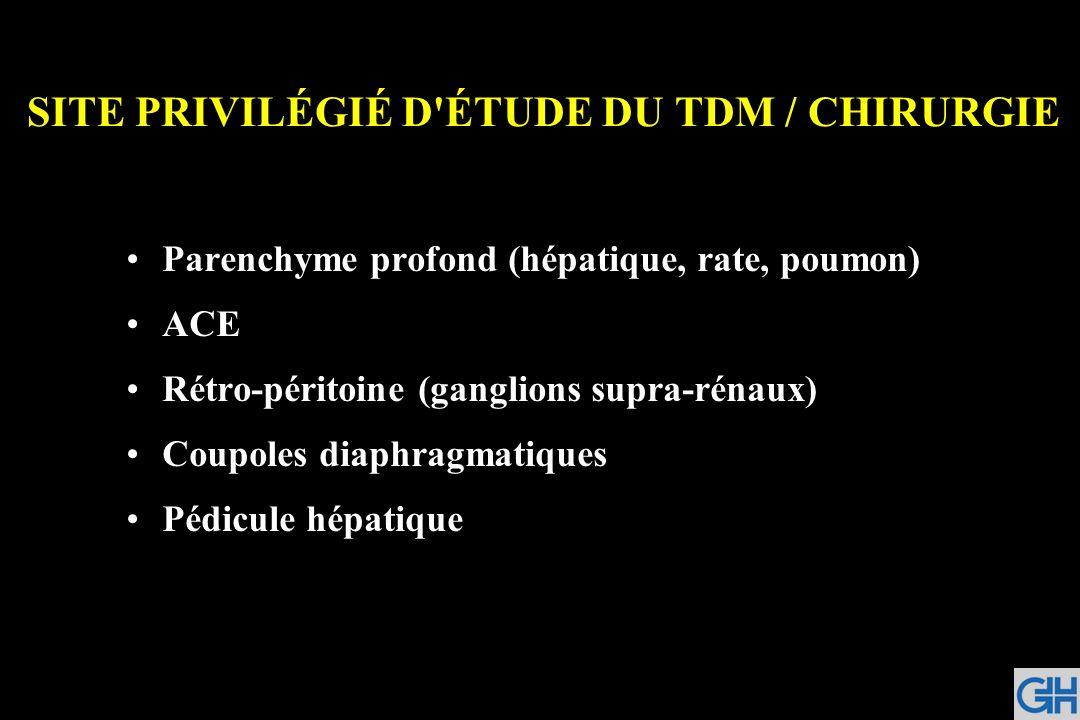 SITE PRIVILÉGIÉ D'ÉTUDE DU TDM / CHIRURGIE Parenchyme profond (hépatique, rate, poumon) ACE Rétro-péritoine (ganglions supra-rénaux) Coupoles diaphrag