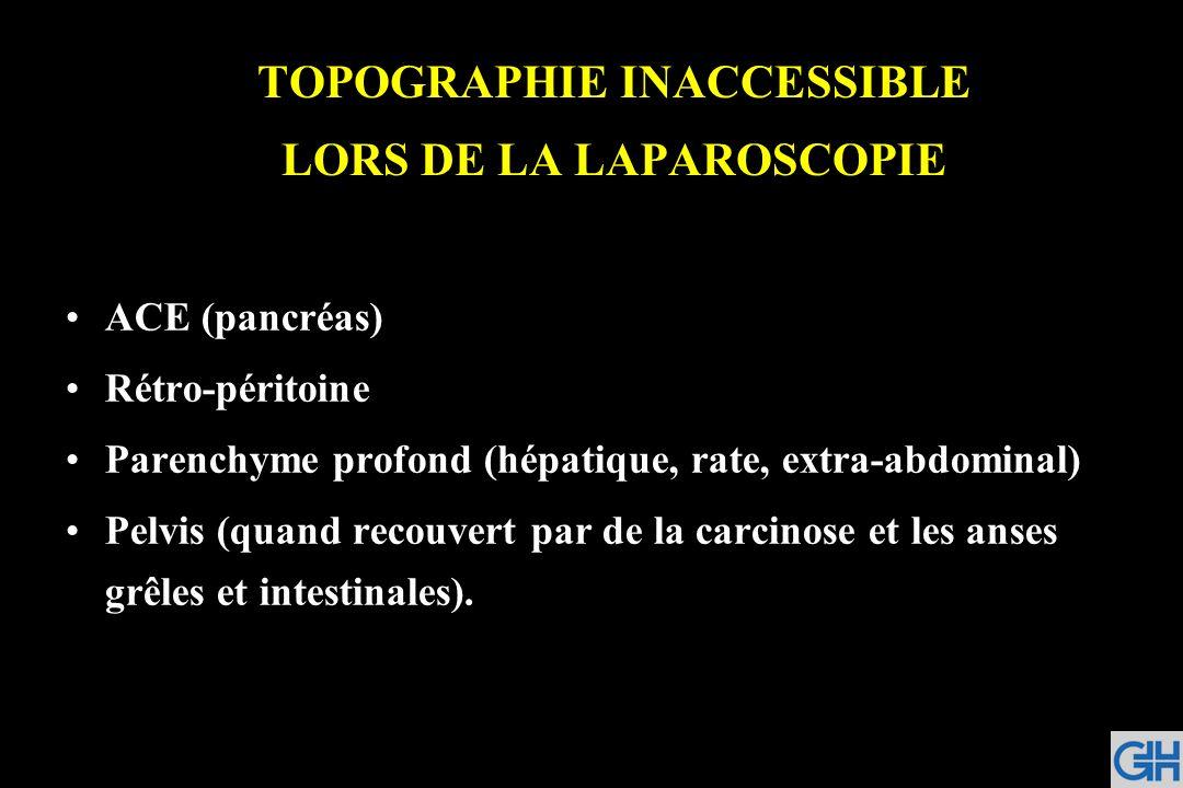 TOPOGRAPHIE INACCESSIBLE LORS DE LA LAPAROSCOPIE ACE (pancréas) Rétro-péritoine Parenchyme profond (hépatique, rate, extra-abdominal) Pelvis (quand re