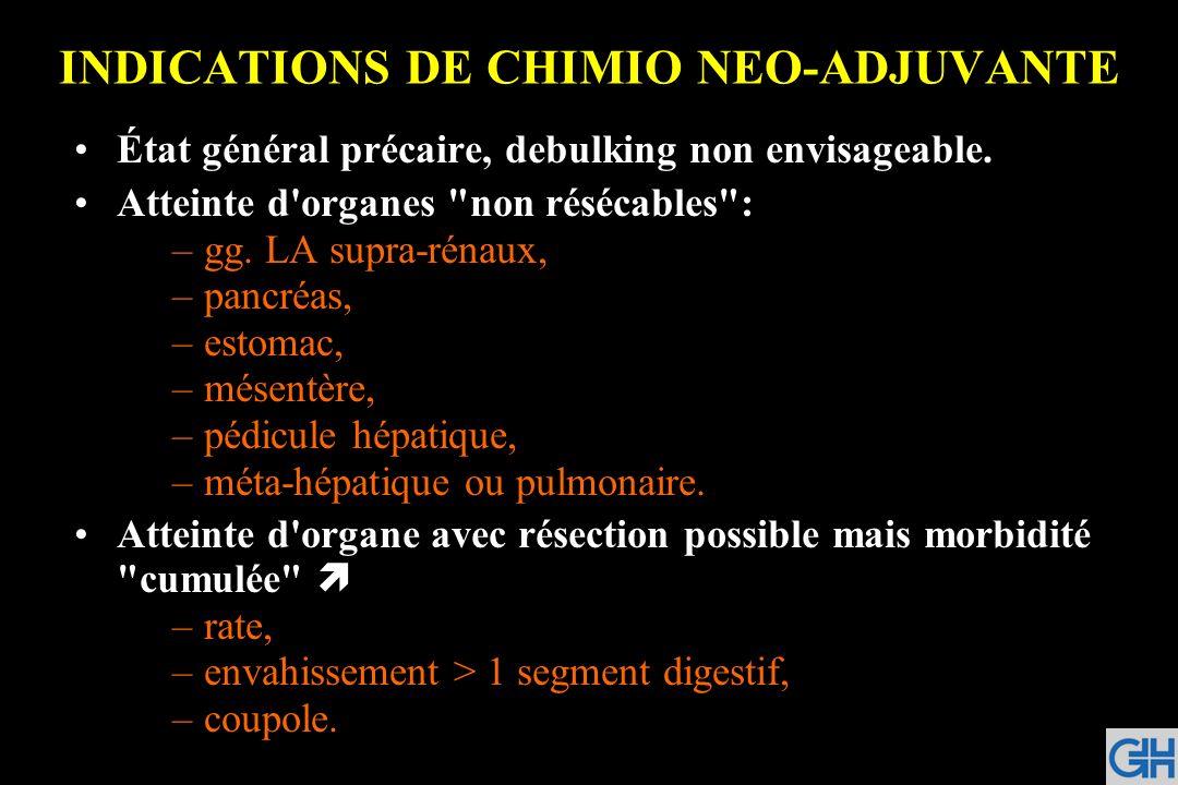 INDICATIONS DE CHIMIO NEO-ADJUVANTE État général précaire, debulking non envisageable. Atteinte d'organes