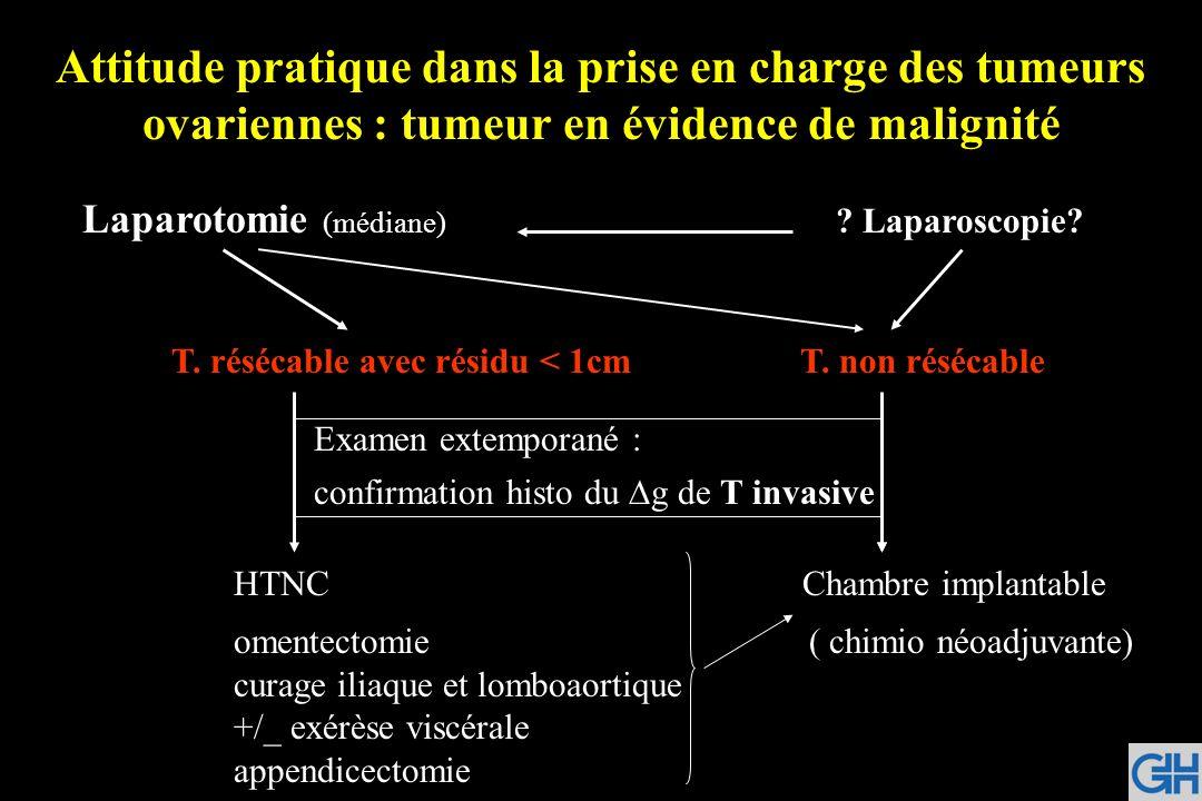 Attitude pratique dans la prise en charge des tumeurs ovariennes : tumeur en évidence de malignité Laparotomie (médiane) ? Laparoscopie? T. résécable
