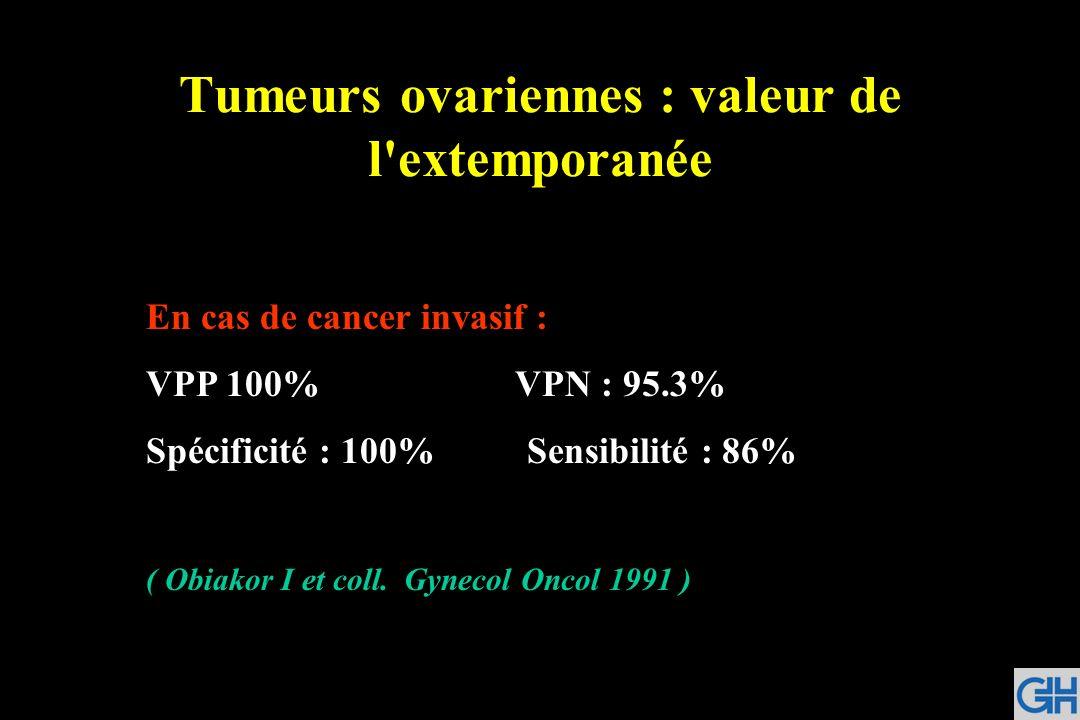 Tumeurs ovariennes : valeur de l'extemporanée En cas de cancer invasif : VPP 100% VPN : 95.3% Spécificité : 100% Sensibilité : 86% ( Obiakor I et coll