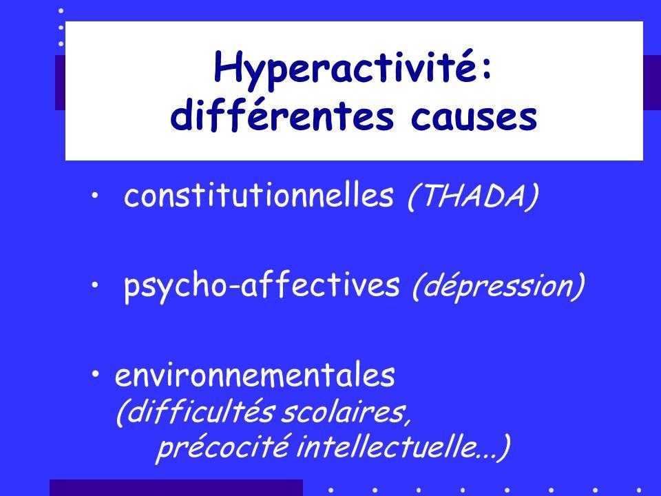 Hyperactivité: différentes causes constitutionnelles (THADA) psycho-affectives (dépression) environnementales (difficultés scolaires, précocité intell