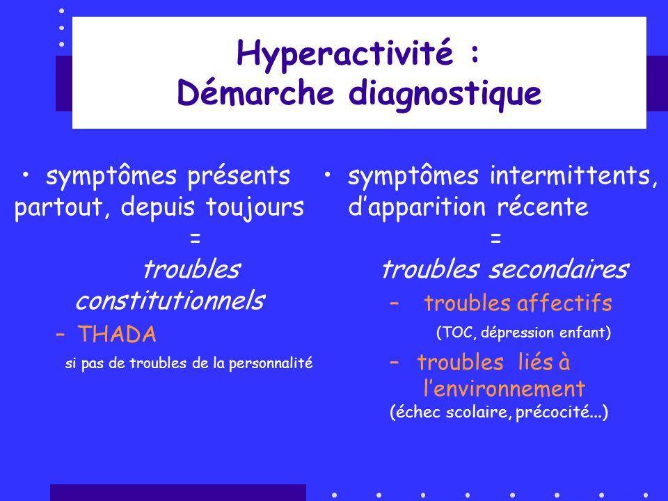 Hyperactivité : Démarche diagnostique symptômes présents partout, depuis toujours = troubles constitutionnels –THADA si pas de troubles de la personna