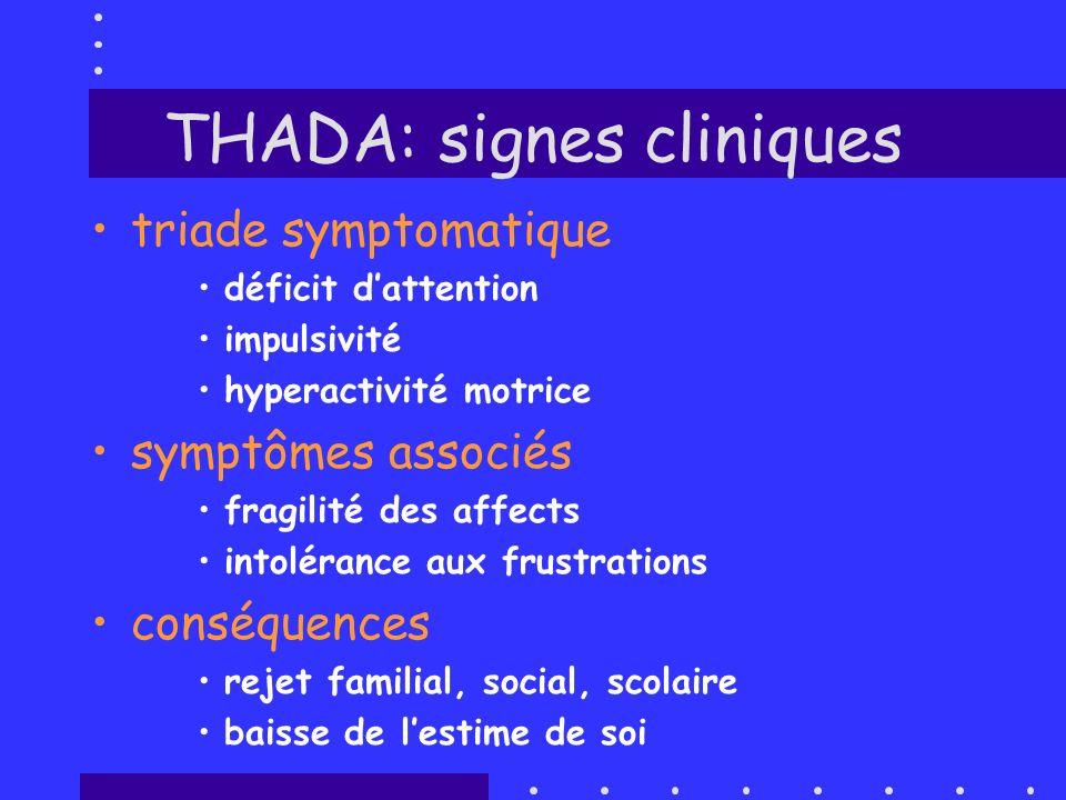 THADA: signes cliniques triade symptomatique déficit dattention impulsivité hyperactivité motrice symptômes associés fragilité des affects intolérance