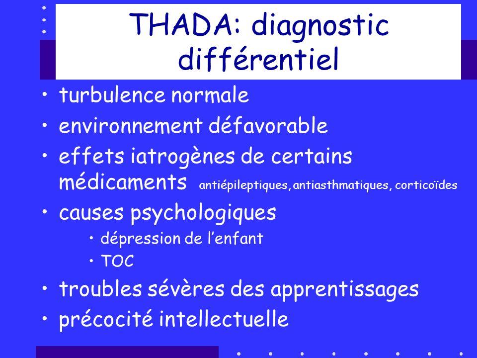 THADA: diagnostic différentiel turbulence normale environnement défavorable effets iatrogènes de certains médicaments antiépileptiques, antiasthmatiqu
