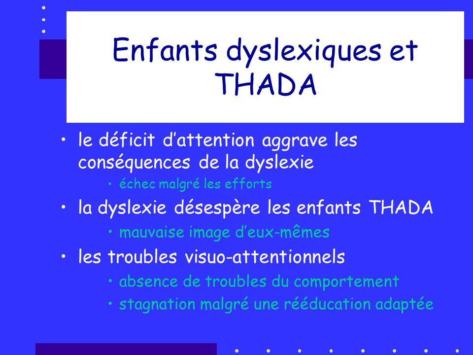 Enfants dyslexiques et THADA le déficit dattention aggrave les conséquences de la dyslexie échec malgré les efforts la dyslexie désespère les enfants