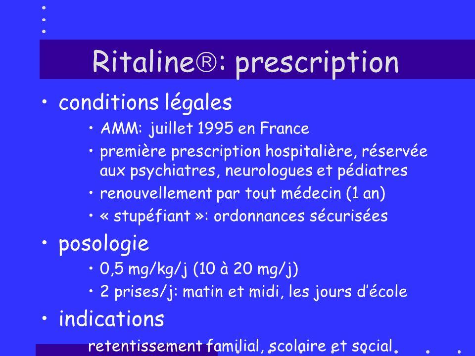 Ritaline : prescription conditions légales AMM: juillet 1995 en France première prescription hospitalière, réservée aux psychiatres, neurologues et pé