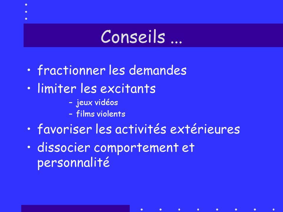 Conseils... fractionner les demandes limiter les excitants –jeux vidéos –films violents favoriser les activités extérieures dissocier comportement et