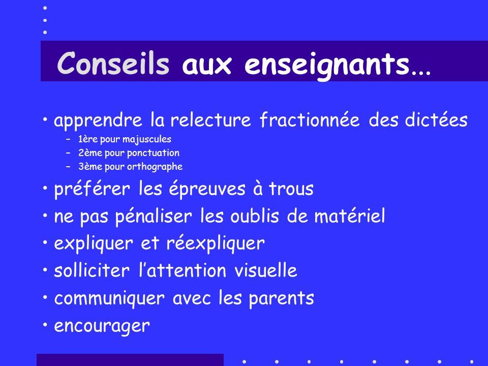 Conseils aux enseignants... apprendre la relecture fractionnée des dictées –1ère pour majuscules –2ème pour ponctuation –3ème pour orthographe préfére