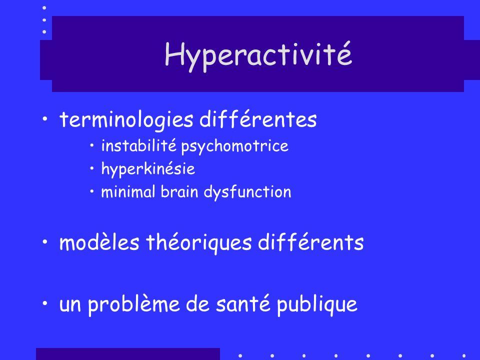 terminologies différentes instabilité psychomotrice hyperkinésie minimal brain dysfunction modèles théoriques différents un problème de santé publique