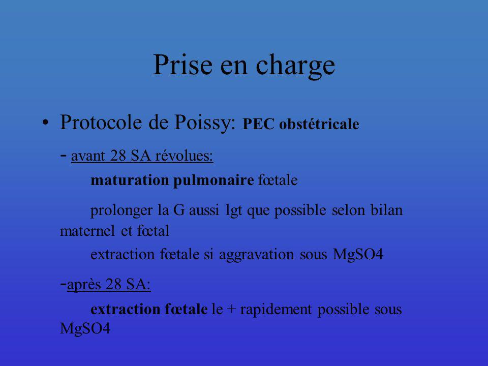 Prise en charge Protocole de Poissy: PEC obstétricale - avant 28 SA révolues: maturation pulmonaire fœtale prolonger la G aussi lgt que possible selon