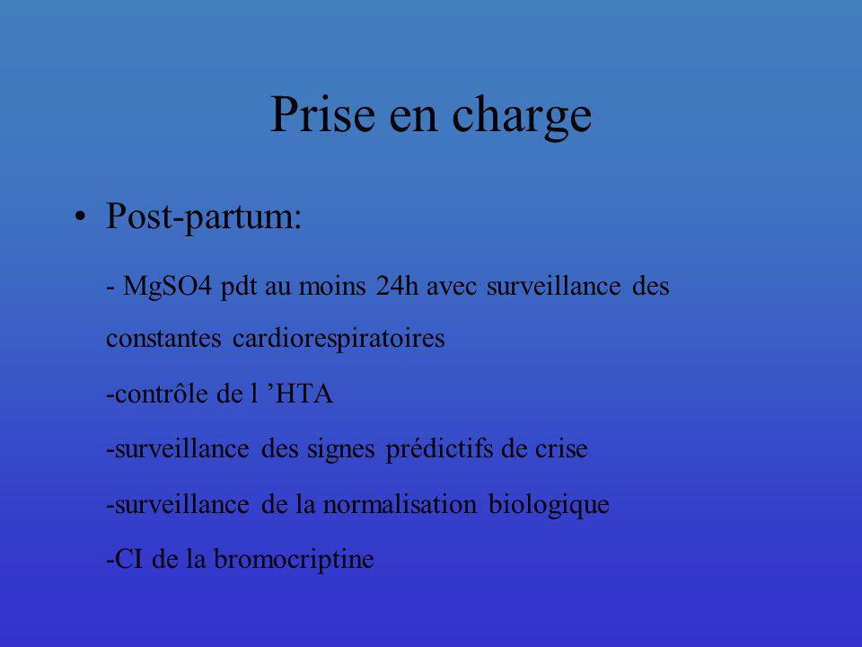 Prise en charge Post-partum: - MgSO4 pdt au moins 24h avec surveillance des constantes cardiorespiratoires -contrôle de l HTA -surveillance des signes