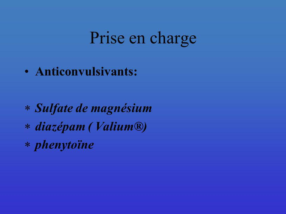 Prise en charge Sulfate de magnésium : Action sur la mécanique physiopathologique : Libération de NO et de prostacyclines vasodilatation Blocage des R-NMDA au niveau de lhippocampe prévention des crises convulsives