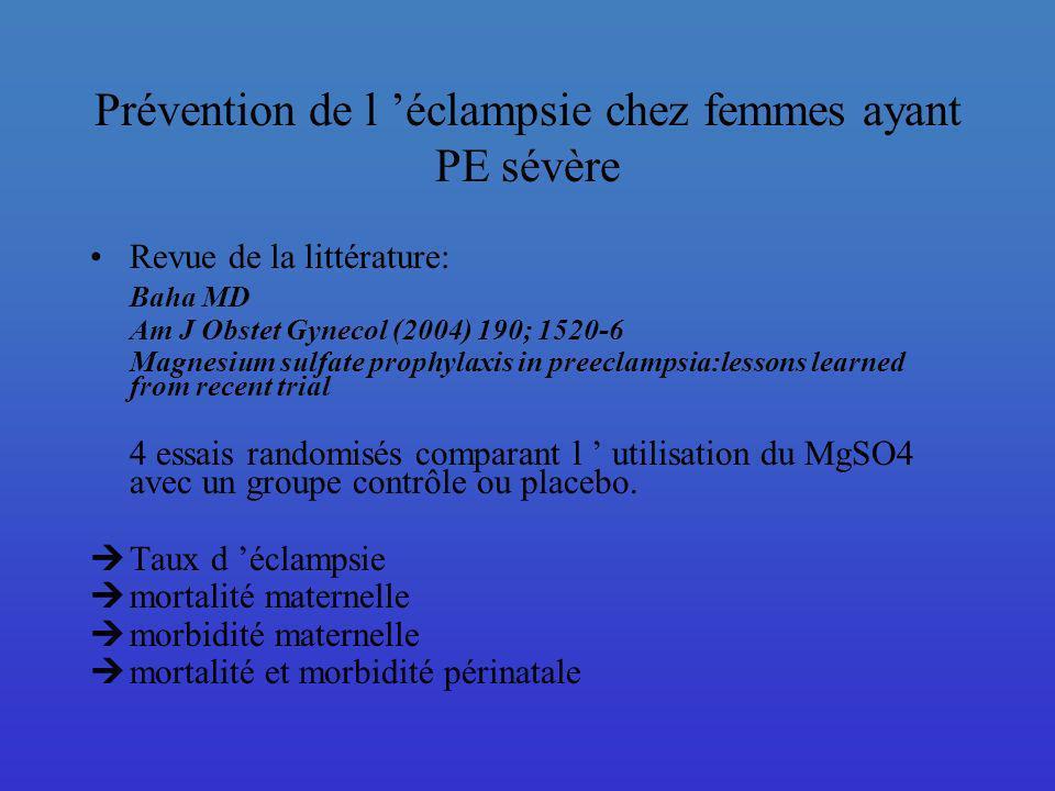 Prévention de l éclampsie chez femmes ayant PE sévère Revue de la littérature: Baha MD Am J Obstet Gynecol (2004) 190; 1520-6 Magnesium sulfate prophy
